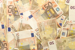 Euro Bills - 50. Close-up of Euro Bills Horizontal Background Photo Royalty Free Stock Photo