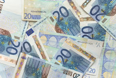 Euro Bills - 20. Close-up of Euro Bills Horizontal Background Photo Royalty Free Stock Images