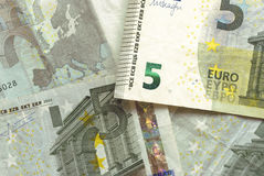 Euro Bills - 5. Close-up of Euro Bills Horizontal Background Photo Stock Photography