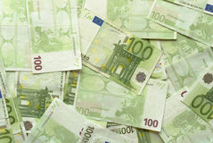 Euro Bills - 100. Close-up of Euro Bills Horizontal Background Photo Stock Photos