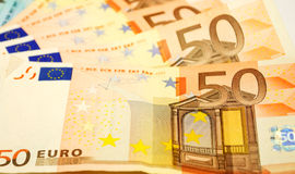 Euro bills close up Stock Photography