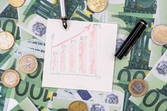 Euro bills and coin with busines chart and pen. business concept.  stock images