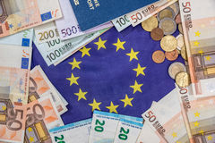 Euro bills with coin, passport Stock Photos