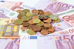 Euro bills with coins Royalty Free Stock Photo