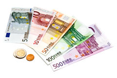 Euro bills and coins Stock Photos