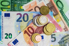 Euro bills and coins - cash money Stock Photography