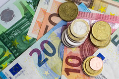 Euro bills and coins - cash money Stock Image