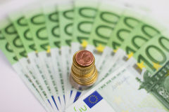 Euro bills and coins - cash money Stock Images