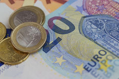 Euro bills and coins, european money Royalty Free Stock Images
