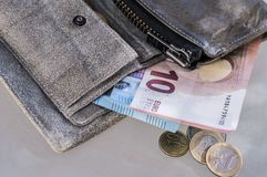 Euro bills and coins in vintage wallet royalty free stock photo