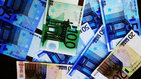 Euro bills. Of different values starting from 20 to 100 stock image