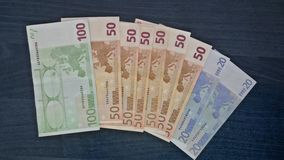 Euro bills. Of different values starting from 20 to 100 Stock Photography