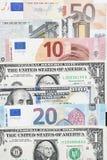 Euro bills and dollar bills Royalty Free Stock Photos