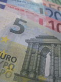 Euro bills. The 5 10 20 50 and 100 euro bills, EU euro notes, EU currency Royalty Free Stock Photo