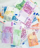 Euro bills  euro banknotes money. European Union Currency. Business objects finance concept Royalty Free Stock Images
