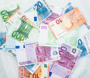 Euro bills  euro banknotes money. European Union Currency. Finance business concept Stock Images