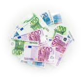 Euro bills  euro banknotes money. European Union Currency. Finance object business concept Royalty Free Stock Photography