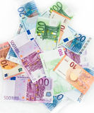 Euro bills  euro banknotes money. European Union Currency. Finance objects business concept Stock Image