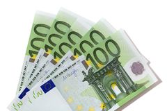 Euro 100 bills. Fan isolated Royalty Free Stock Image