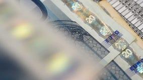Euro bills stock video footage