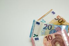 10, 20 and 50 euro bills royalty free stock photos