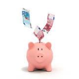 Euro bills falling in or flying out of a pink piggy bank Stock Photos