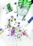 Euro Bills Fly on air - Money Concept Illustration on white back Stock Photo