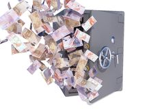 Euro bills flying out safe Royalty Free Stock Photo