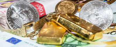 Euro Bills, Gold and Silver. Euro Bills, Gold (bullions and jewellery) and Silver Coins Stock Image