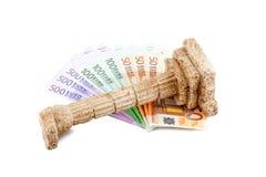 Euro bills on grichischer column Royalty Free Stock Images