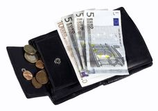 Euro bills incl. cents. Euro bills including coins and wallet Stock Photo