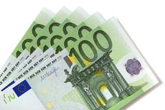 Euro 100 bills. Isolated on white Royalty Free Stock Photography