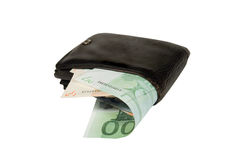 Euro bills in a leather wallet. Euro bills in an old black leather wallet (isolated on white Stock Photography