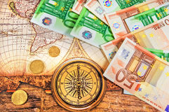 Euro bills on map. Euro bills in the passport isolated royalty free stock photography