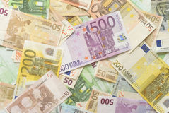 Euro Bills. Mixed Euro Bills Horizontal Background Stock Images
