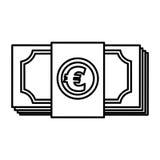 Euro bills money isolated icon Stock Photos
