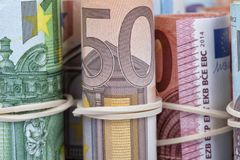 The euro bills most used by Europeans. Are those of 5 10 20 50 and 100 Royalty Free Stock Image