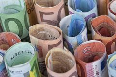 The euro bills most used by Europeans. Are those of 5 10 20 50 and 100 Royalty Free Stock Images