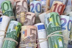 The euro bills most used by Europeans. Are those of 5 10 20 50 and 100 Royalty Free Stock Photo