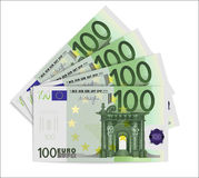 100 Euro bills. One hundred euro notes  on white background. Vector illustration Stock Images