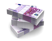 Euro Bills Packs (with clipping path). 500 Euro bills packs on stack Royalty Free Stock Photo