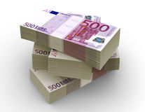 Euro Bills Packs (with clipping path). 500 Euro bills packs on stack Royalty Free Stock Photography