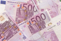 Euro Bills - 500. Close-up of Euro Bills Horizontal Background Photo Royalty Free Stock Images