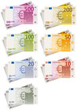 Euro Bills Set. Illustration of a set of glossy euro currency bills paper with every amounts royalty free illustration