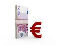 Euro Bills and Sign Stock Photography