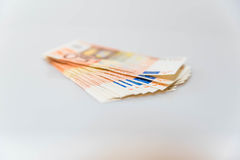 50 euro bills. A stack of 50 euro bills stock photo