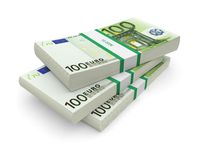 Euro bills stacks. Euro currency stacks on a white background. 3d image Stock Photography