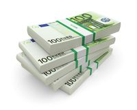 Euro bills stacks. Euro currency stacks on a white background. 3d image Stock Images