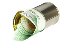 Euro bills on a tin can. Over white background Royalty Free Stock Images
