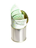 Euro bills on a tin can. Over white background Stock Photo
